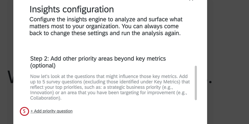 clicking add priority question to add priority questions to the analysis