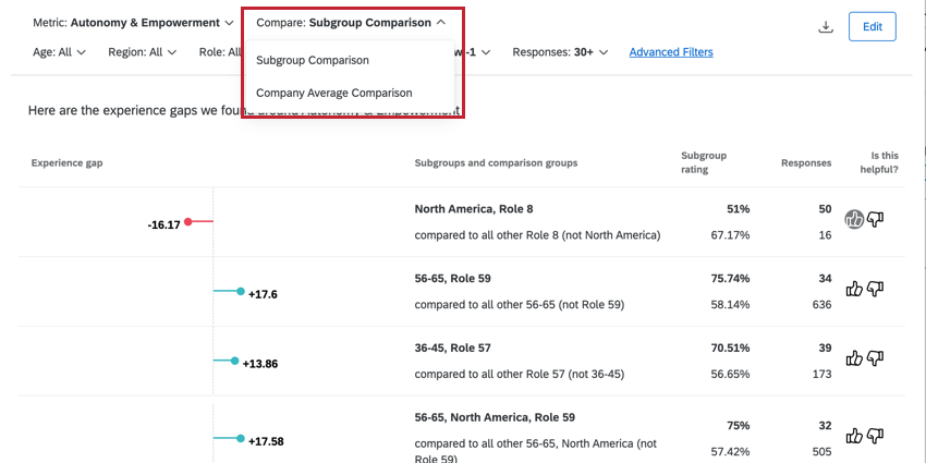 using the compare filter to switch between insight comparisons