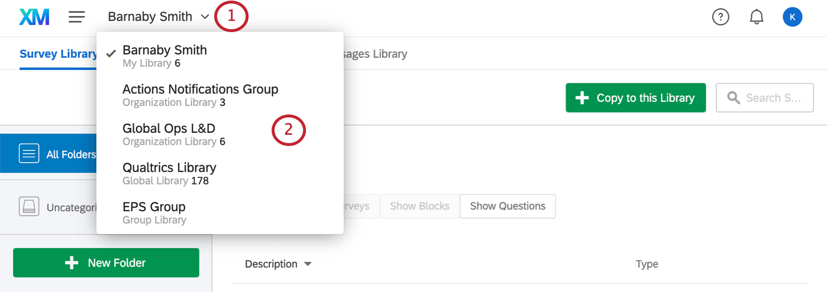 Personal and Group Libraries dropdown in top-left corner of Library Page