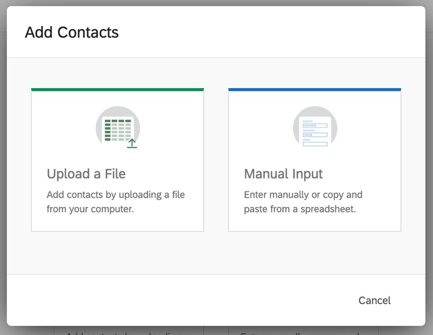 Add Contacts by uploading a file or by inputting manually
