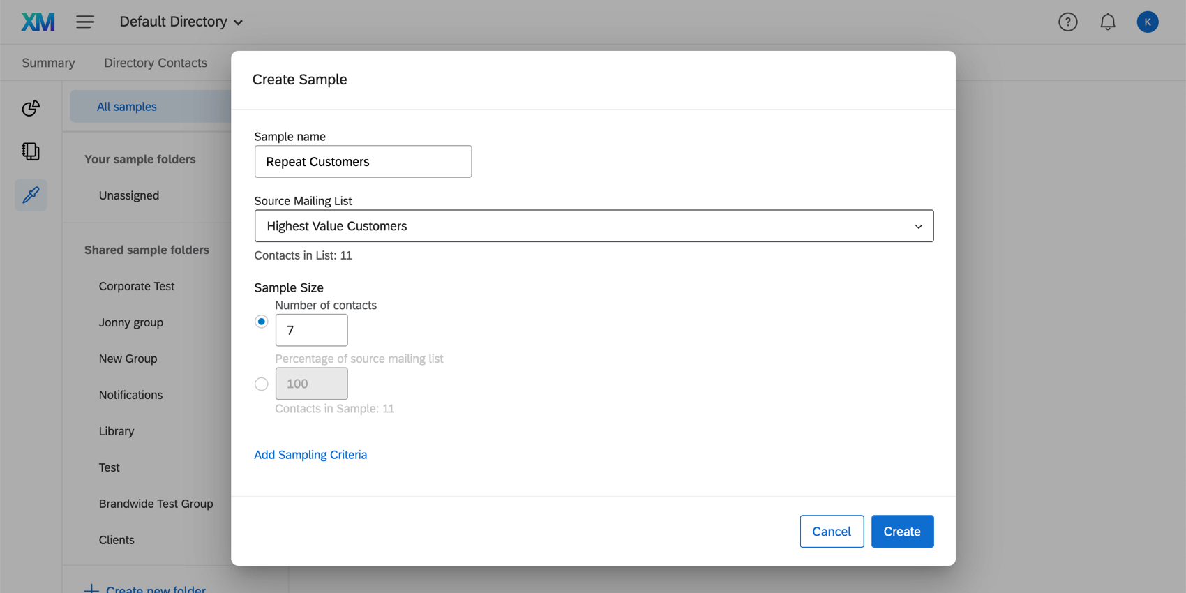 Creating a sample from another mailing list