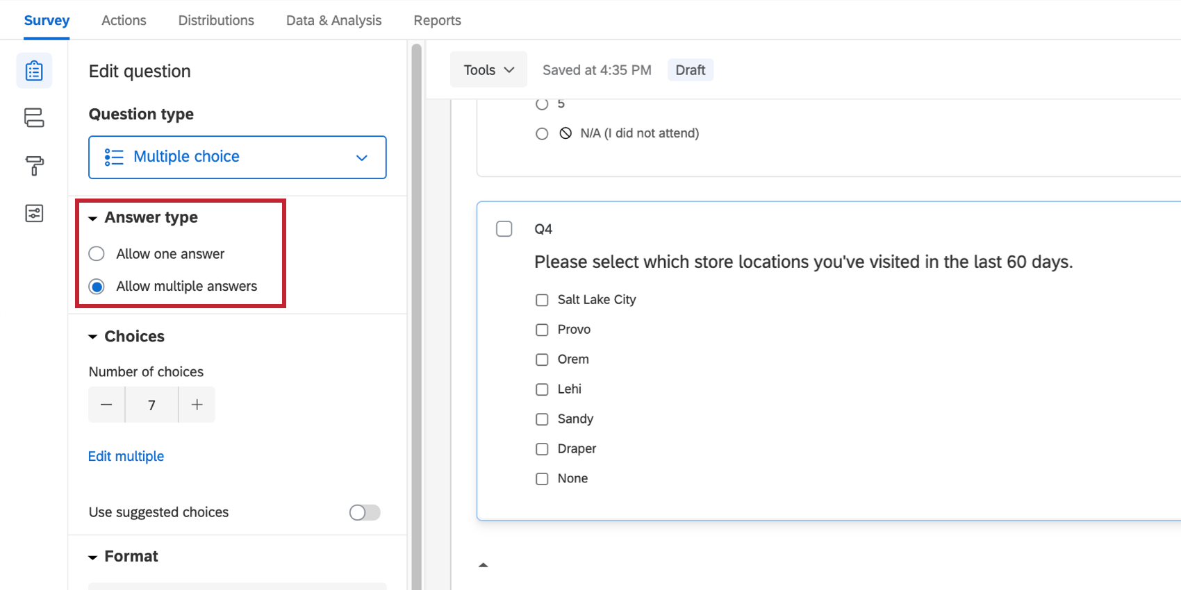 """In the quesiton editing pane, section for """"answer type,"""" with options for allow one answer and allow multiple answers. You want allow multiple answers to be enabled"""