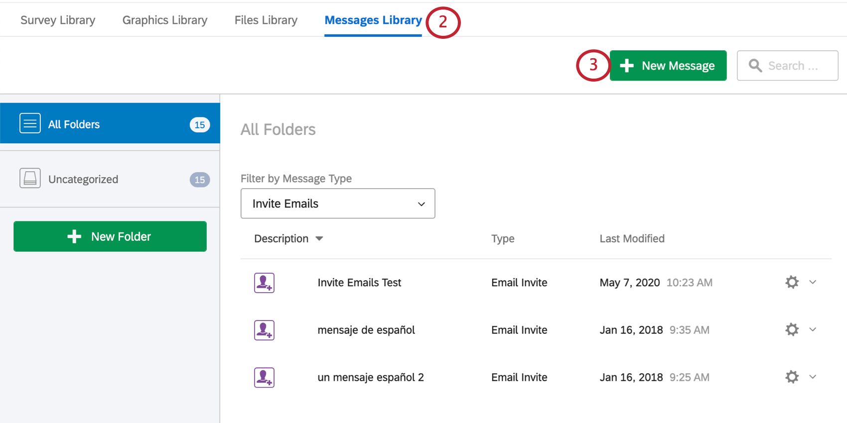 Messages library, new message button on right