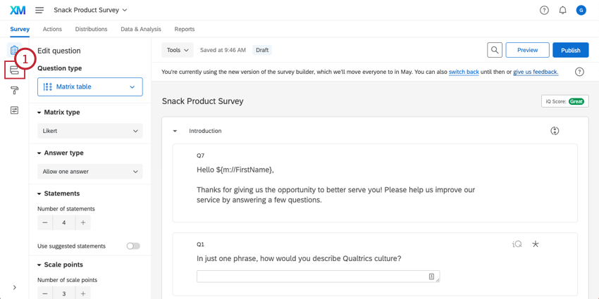 Survey with the Survey flow highlighted