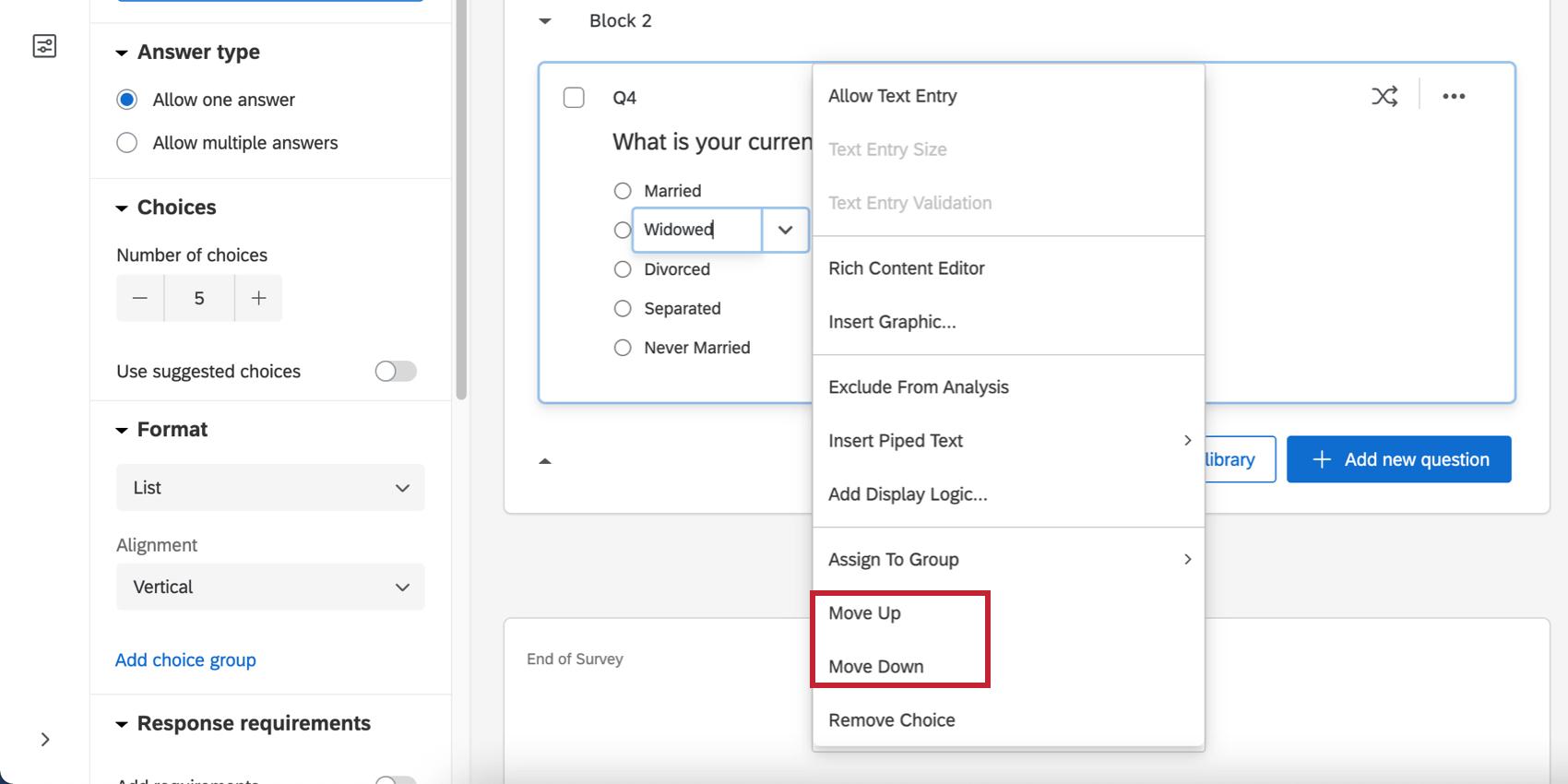 Dropdown arrow next to a question choice reveals menu