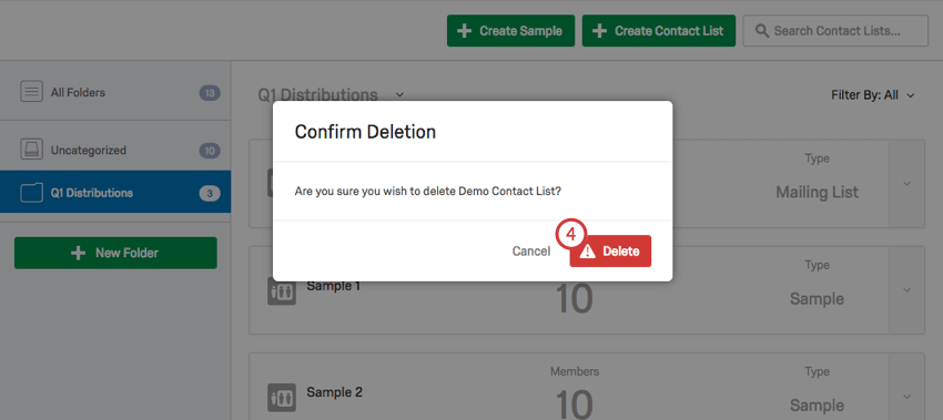 Window asking to Confirm Deletion of contact list