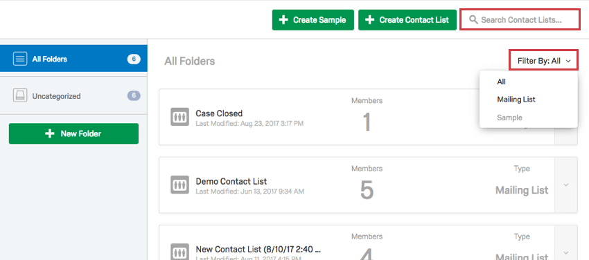 Search Contact Lists text box and Filter By dropdown