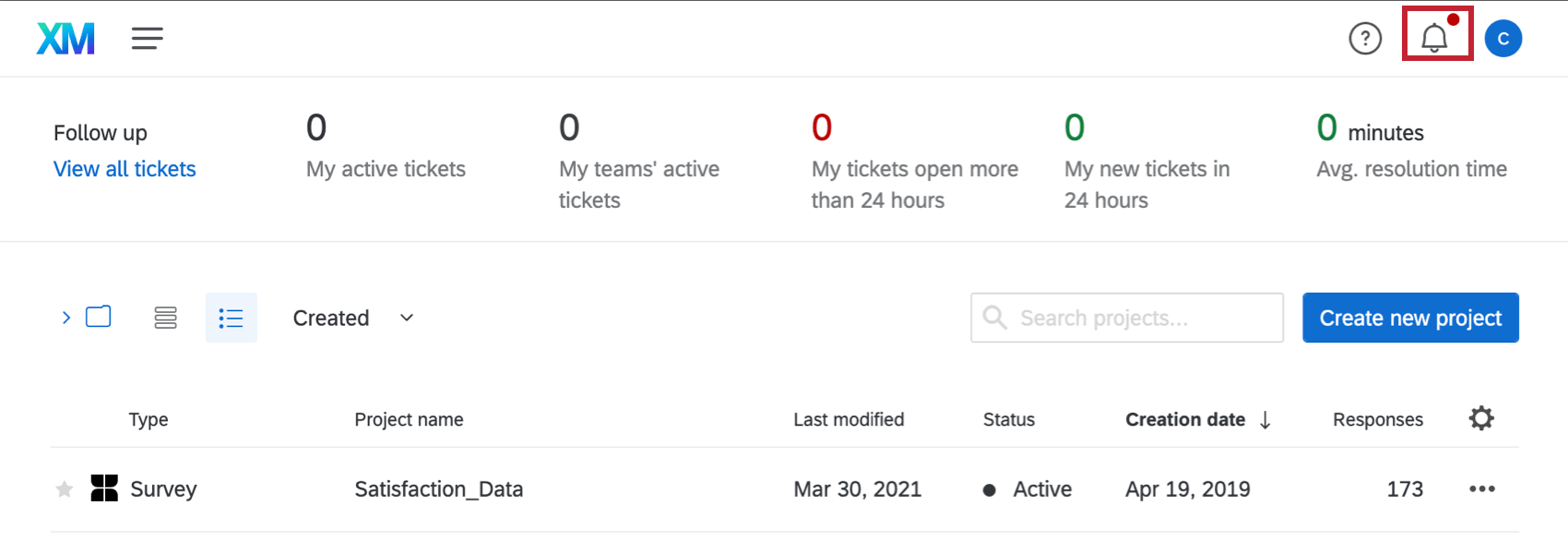 On any Qualtrics page, there's a bell with a red dot on it in the upper-right