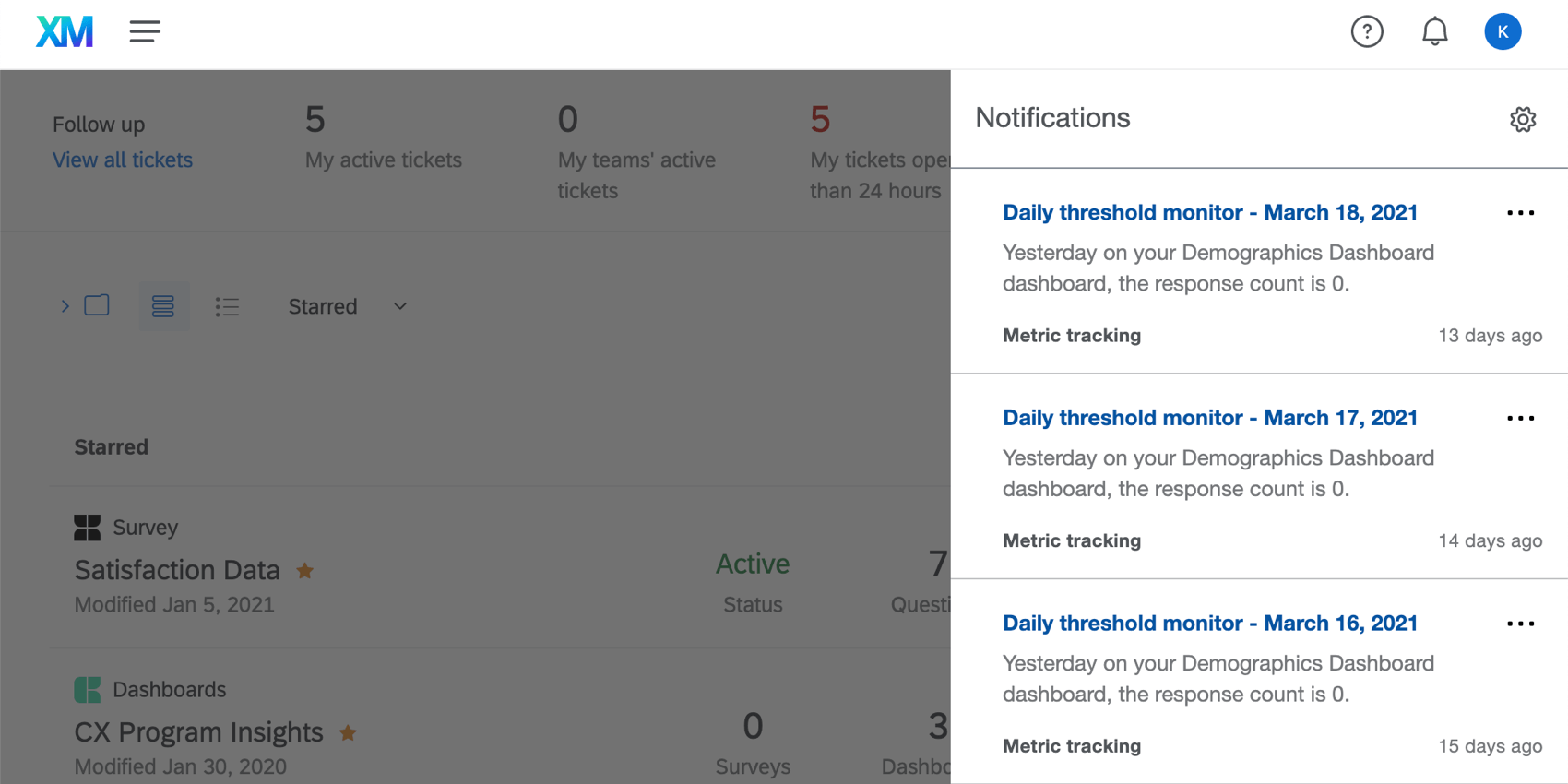 List of notifications opens to the right