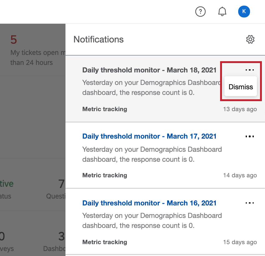 Three dots in upper-right of each notification only has a dismiss option