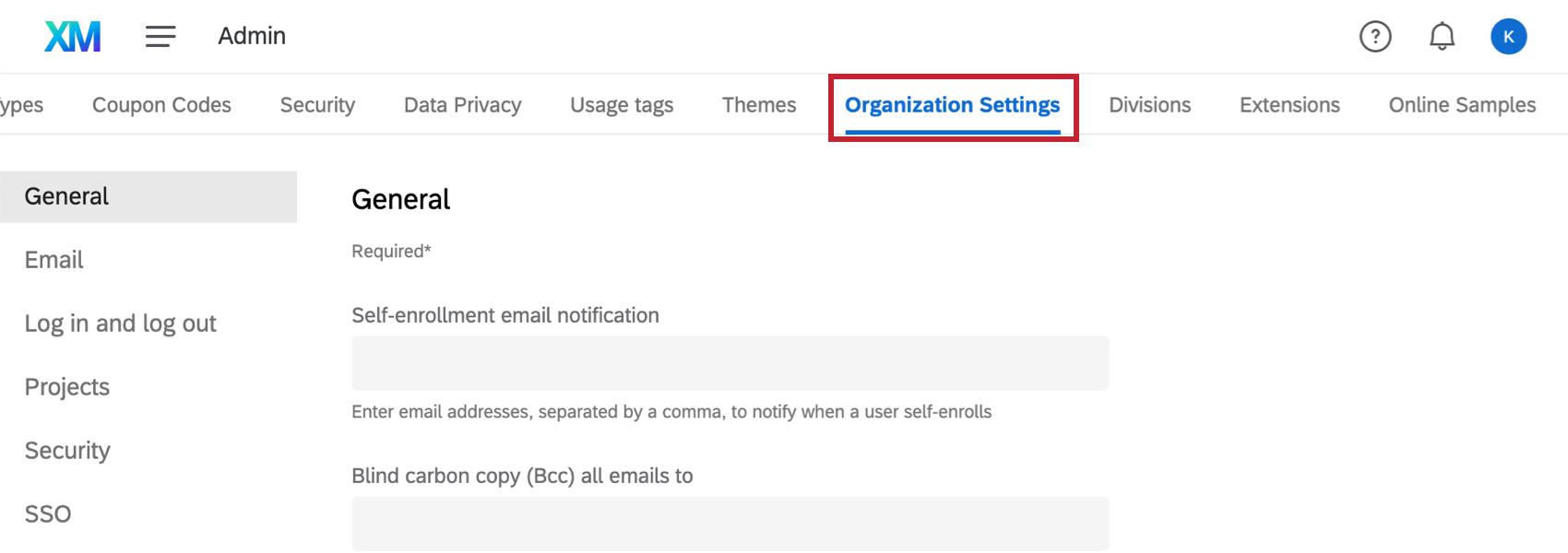 Organization Settings page