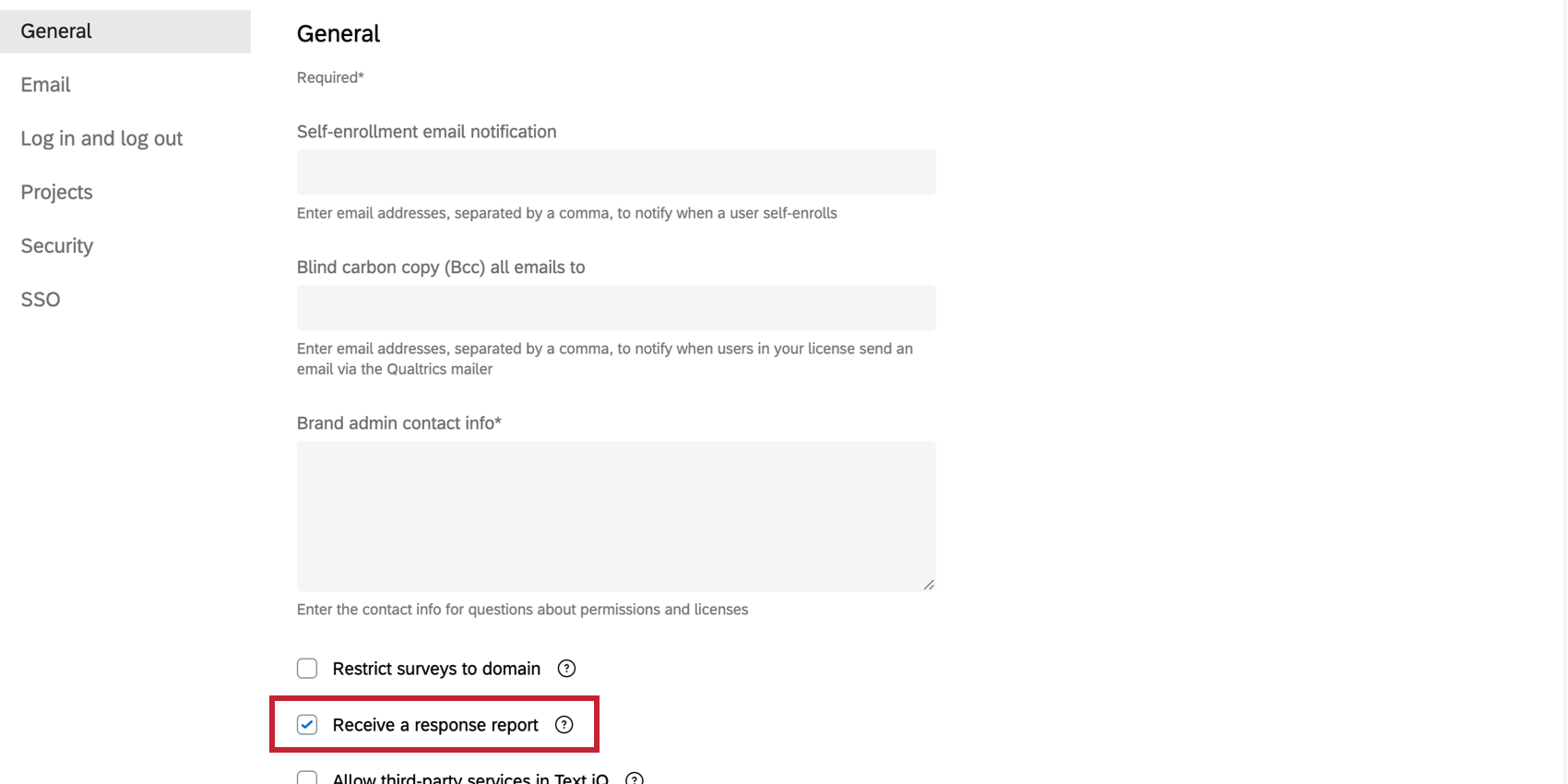 Allow Response Reports option in the General settings