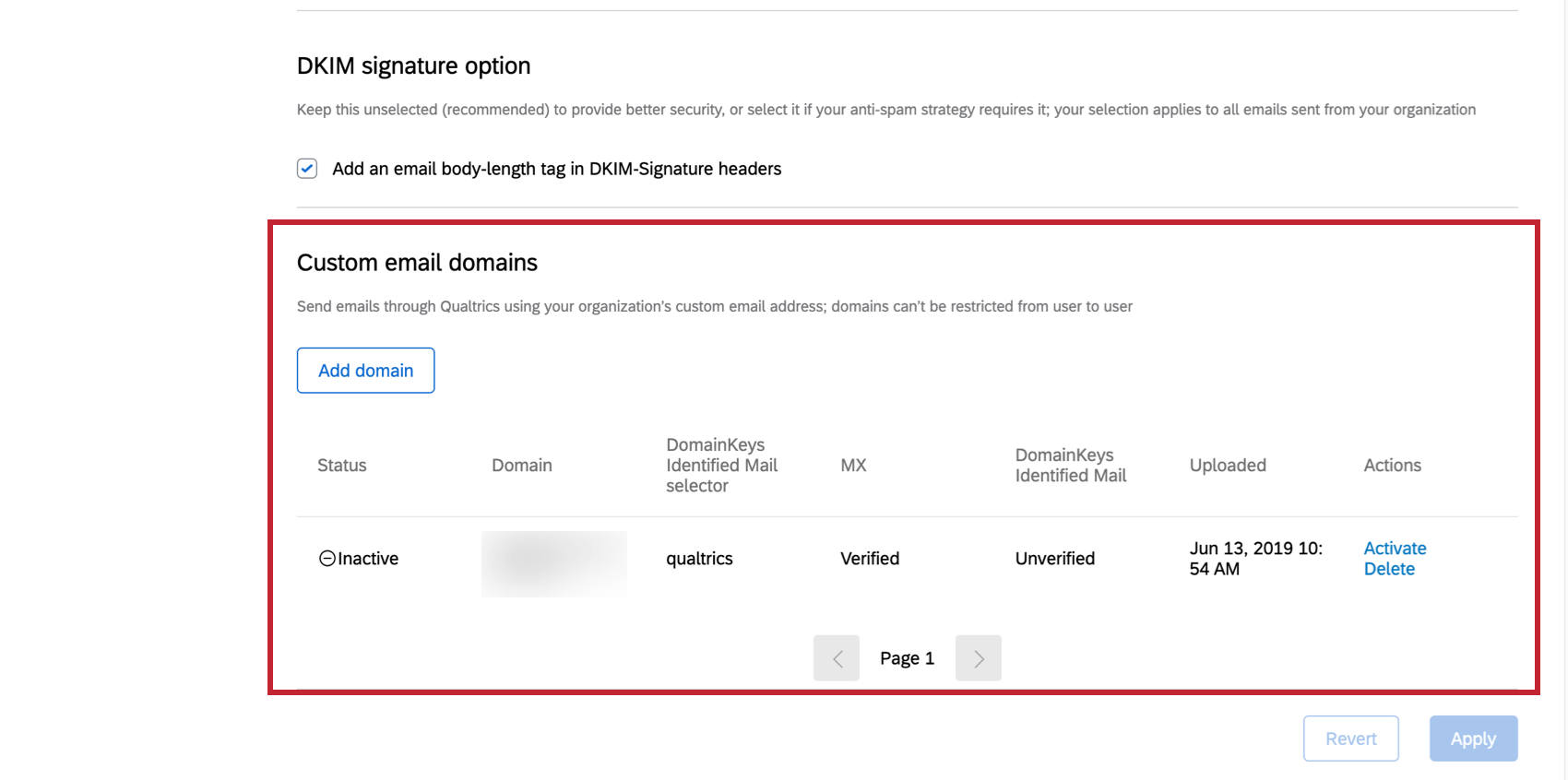 Custom email domains section in the Email tab