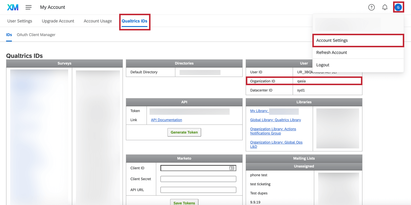 Locating the organization ID from the Account Settings