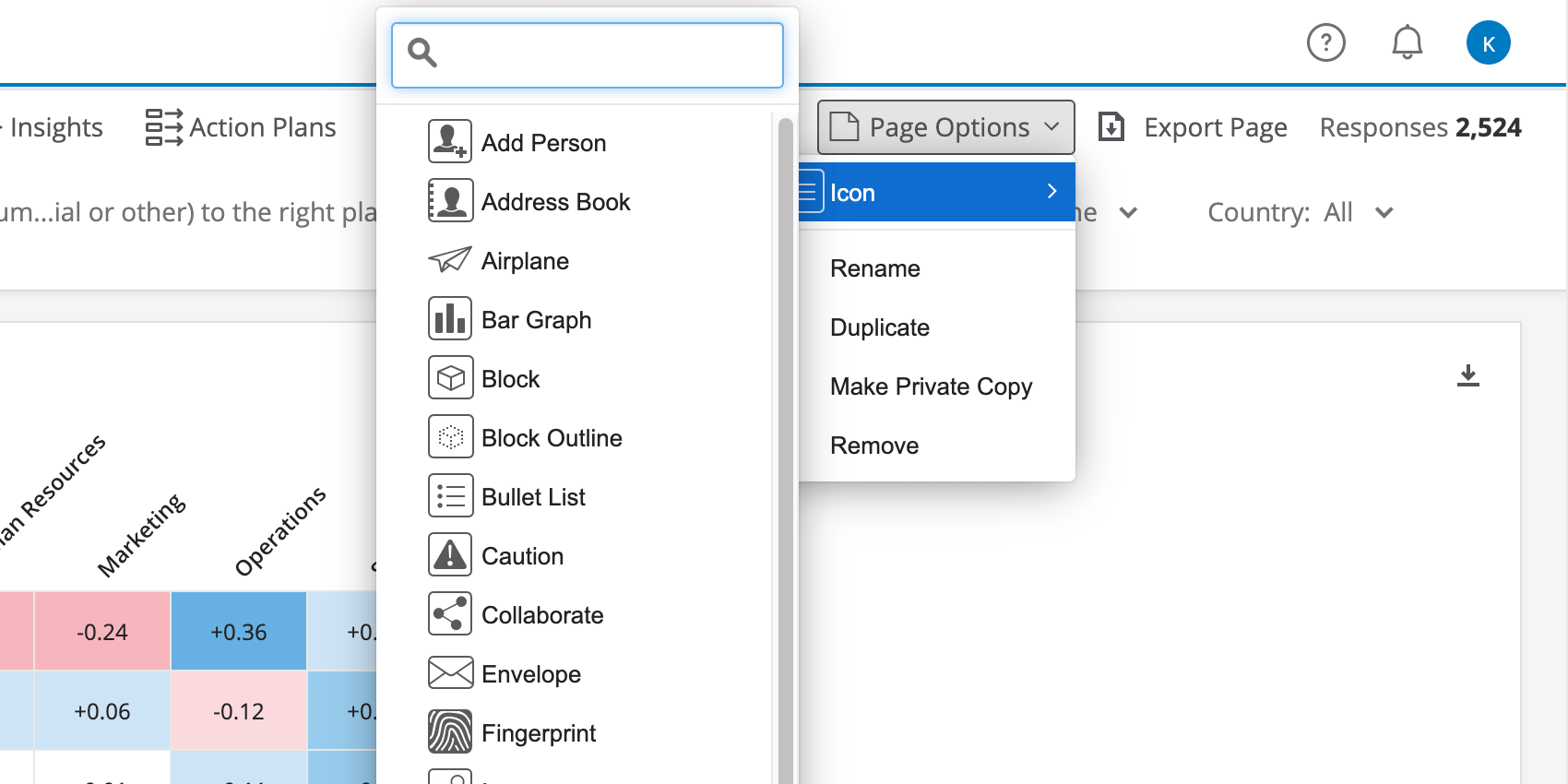 Icon top of list - when hover over, enormous list of icons appears