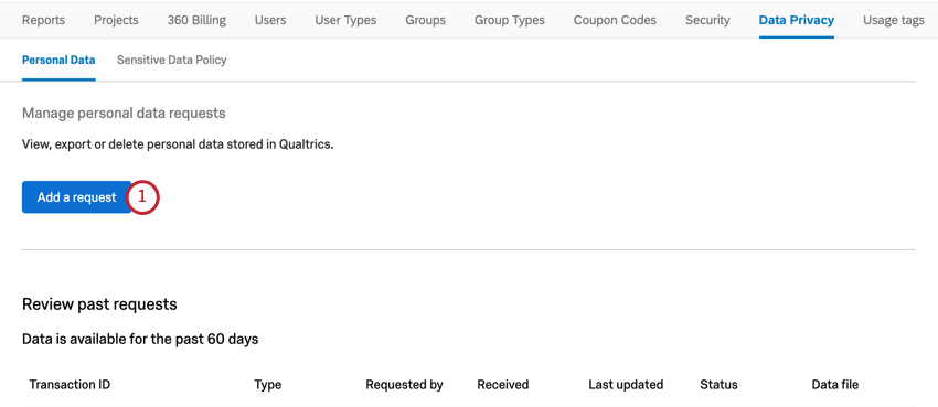 Add a request button, top of personal data section