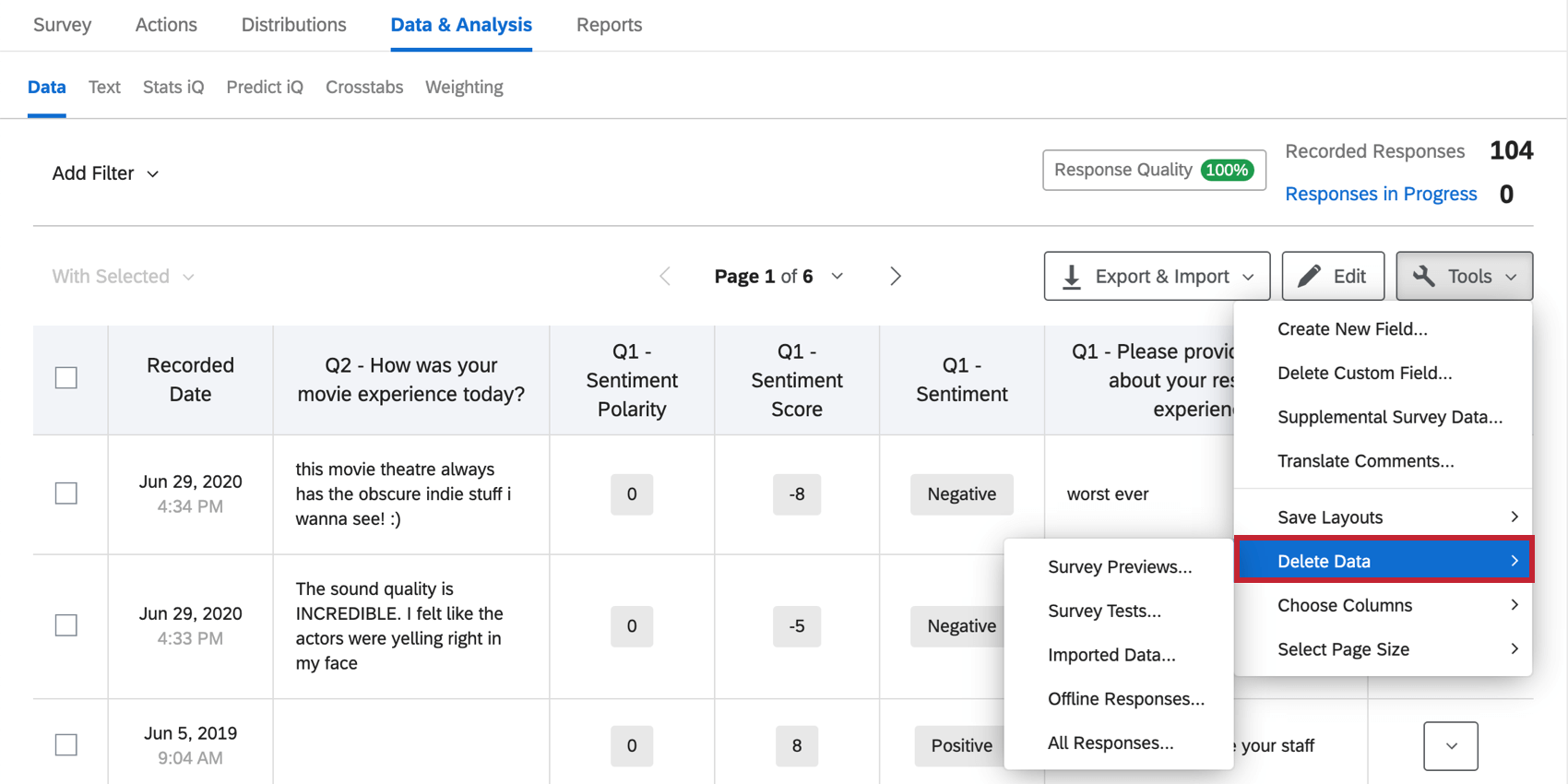 Deleting preview surveys on the Data and Analysis tab