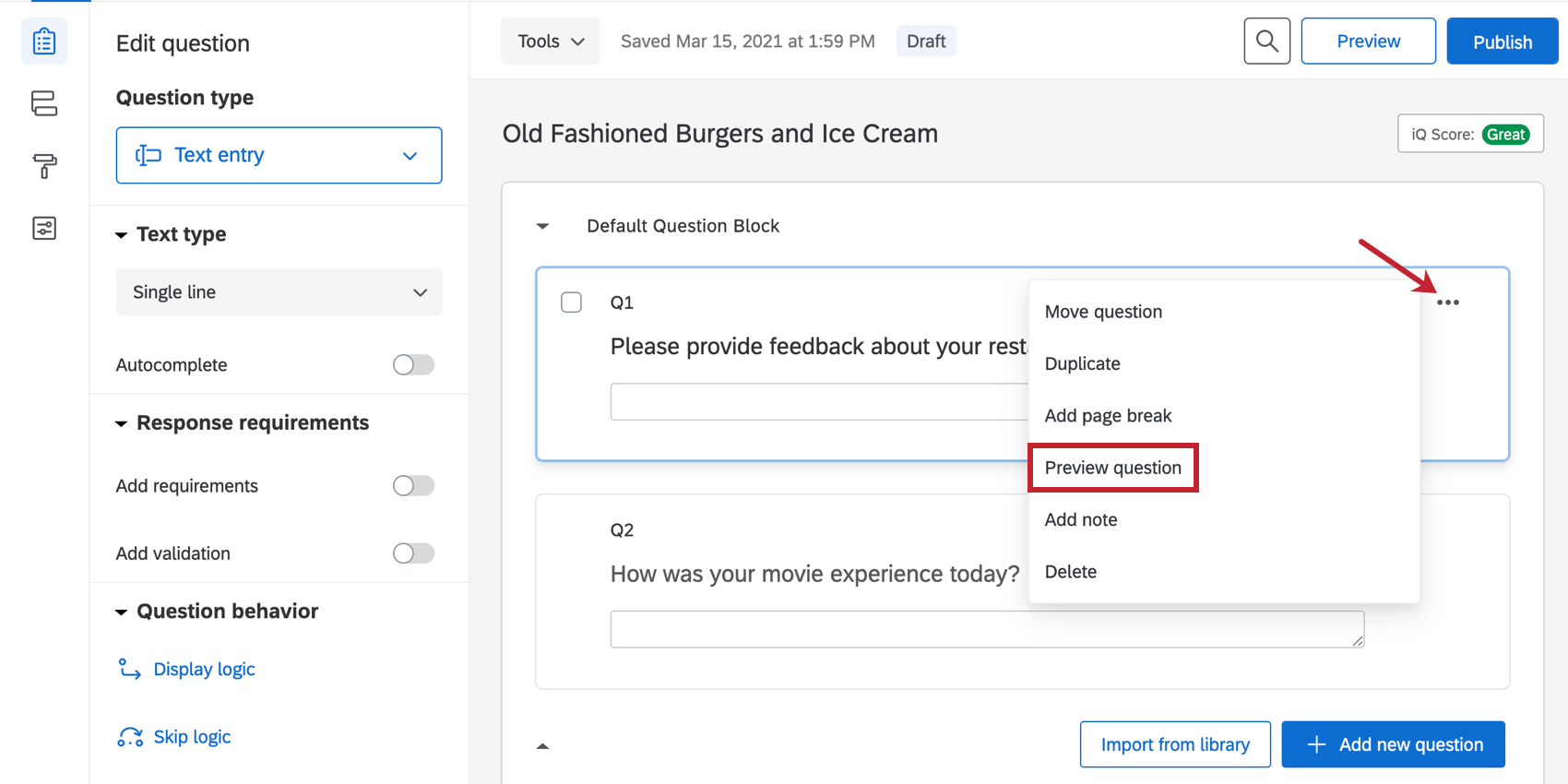 Preview question option from upper-right of question