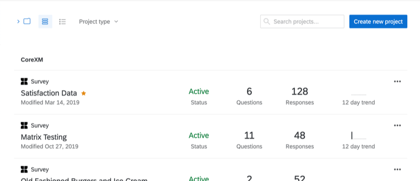 Overall view of Qualtrics Projects Page once logged in