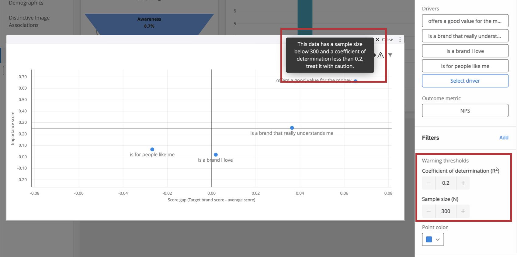 Warning thresholds in the widget editing pane
