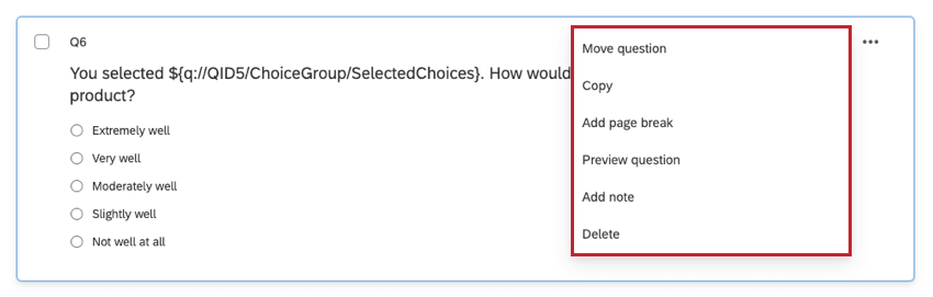 Question options drop down menu on the right side of the question