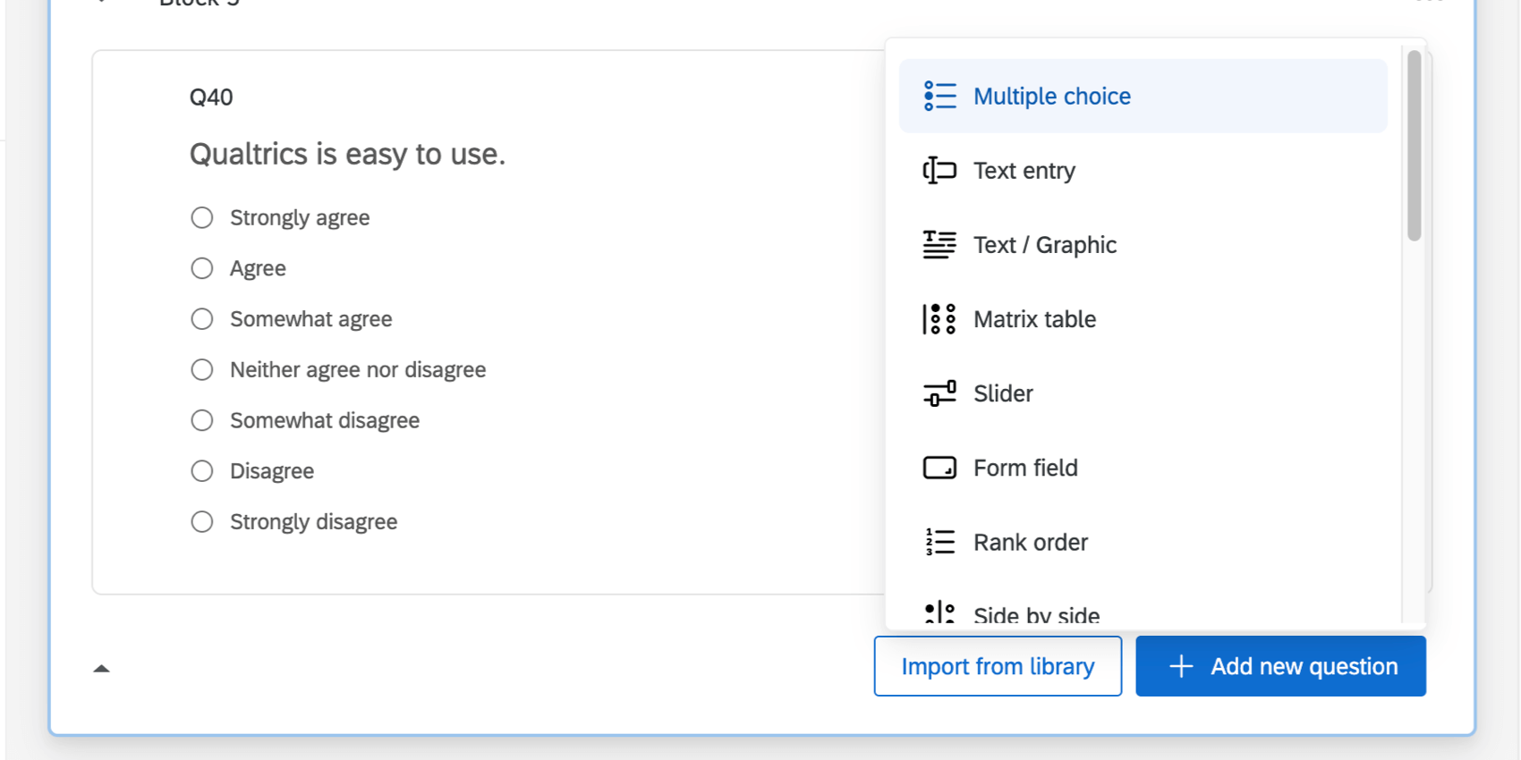 Dropdown arrow next to Create a New Question reveals a full list of question types