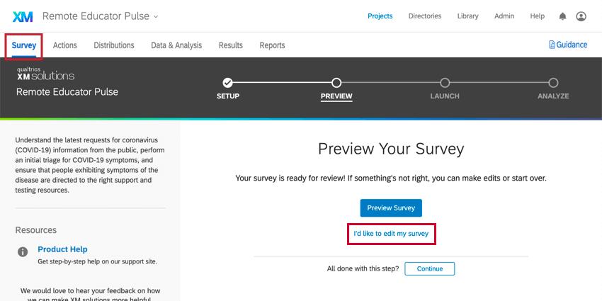 navigating to the survey tab