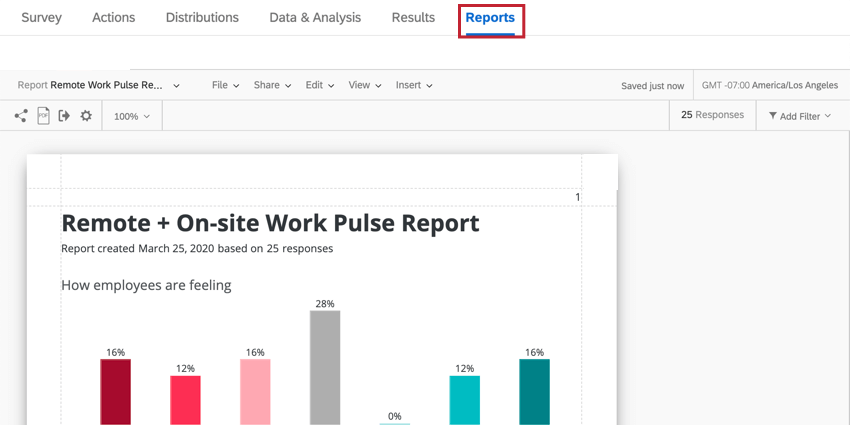 the reports tab