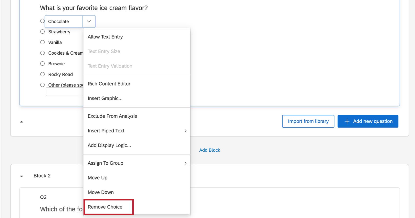Last option in the menu the blue arrow opens