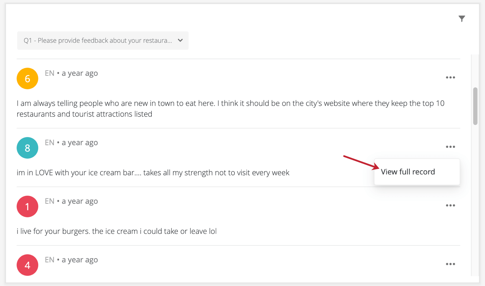 Highlighting a row on a response ticker, where you click to bring up the record view