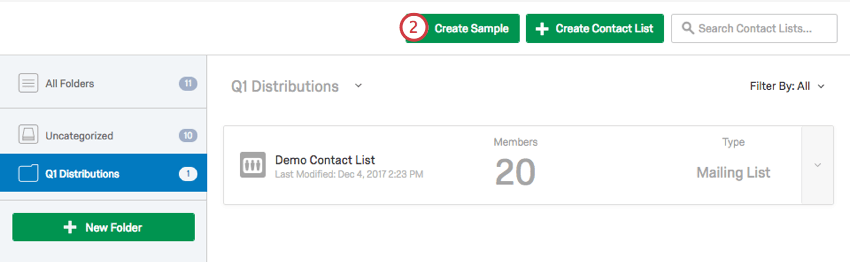 Create Sample button within Contacts page