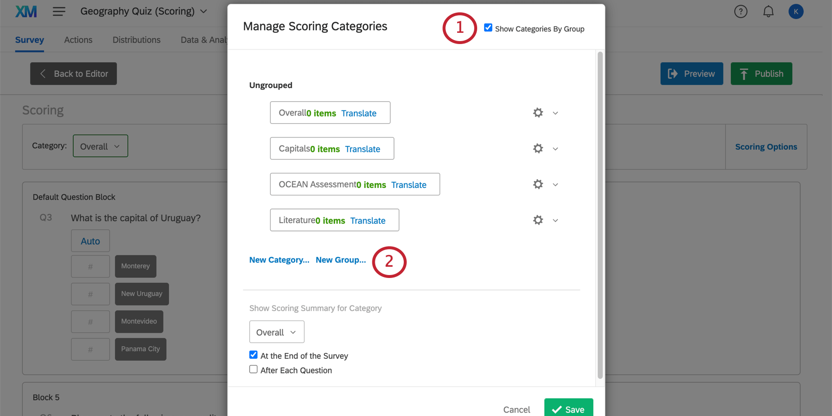 Show Categories by Group is selected in upper-rightmost corner of manage scoring categories window