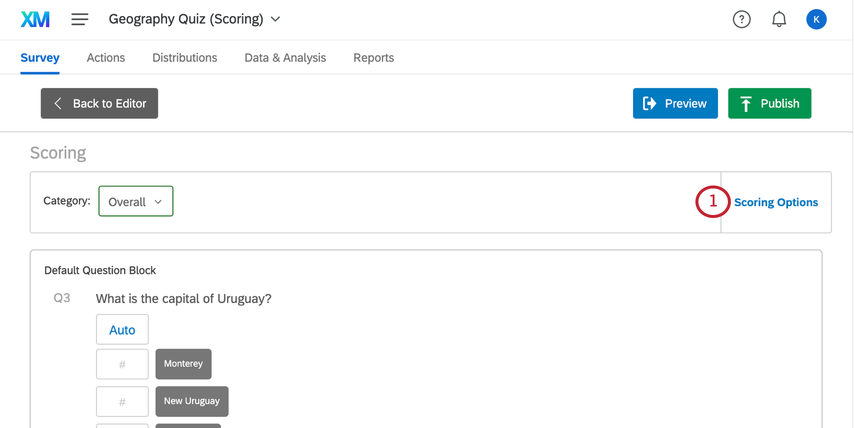 Scoring options on the upper-right of the scoring editor