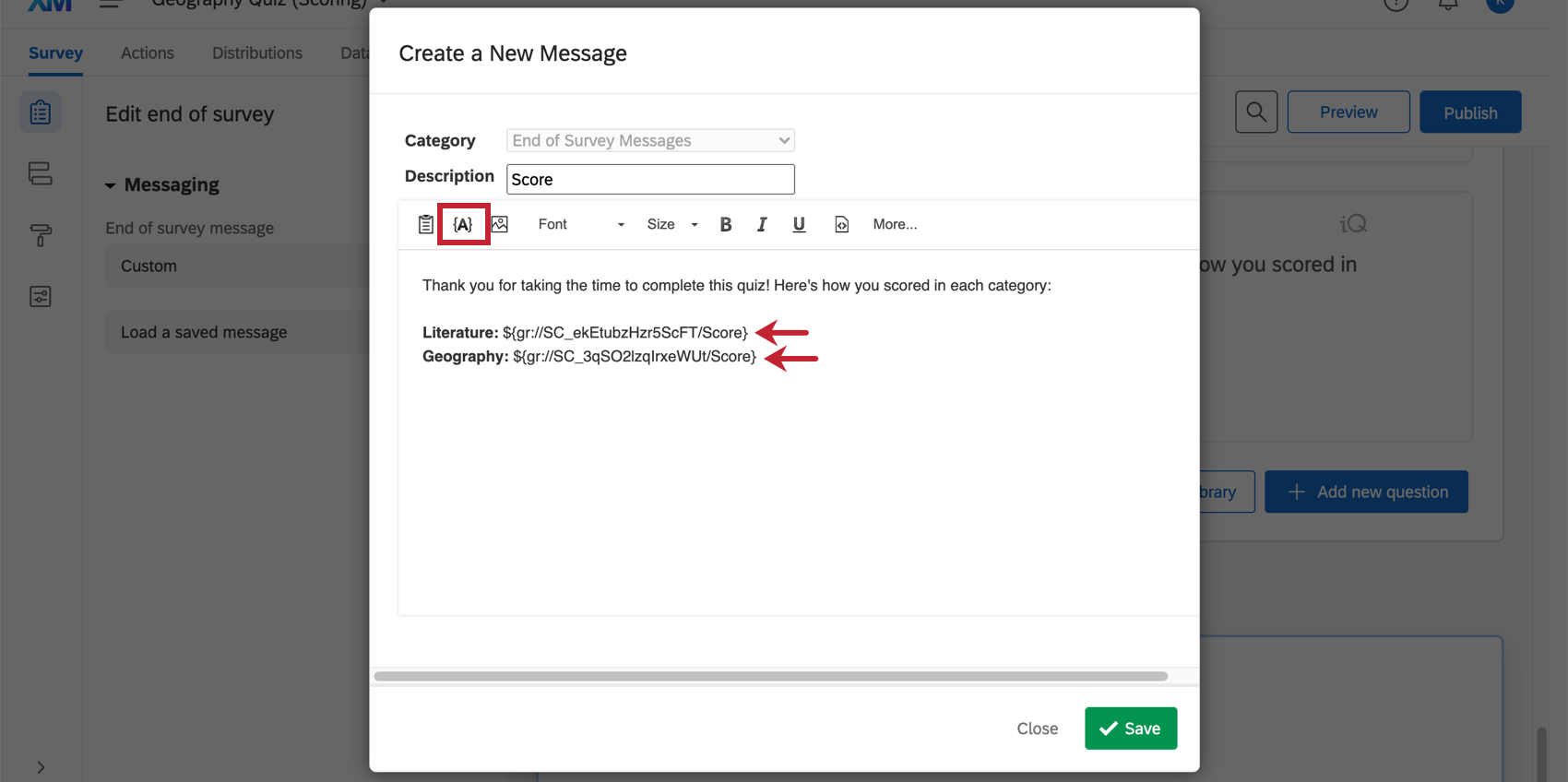 Piped text in an end of survey message.