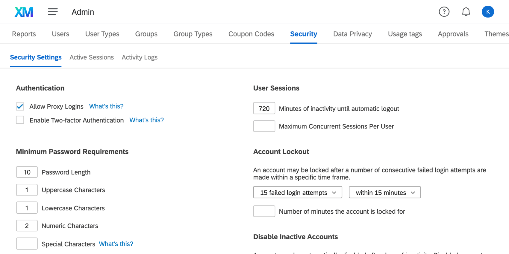 Security tab on the upper-right Admin page