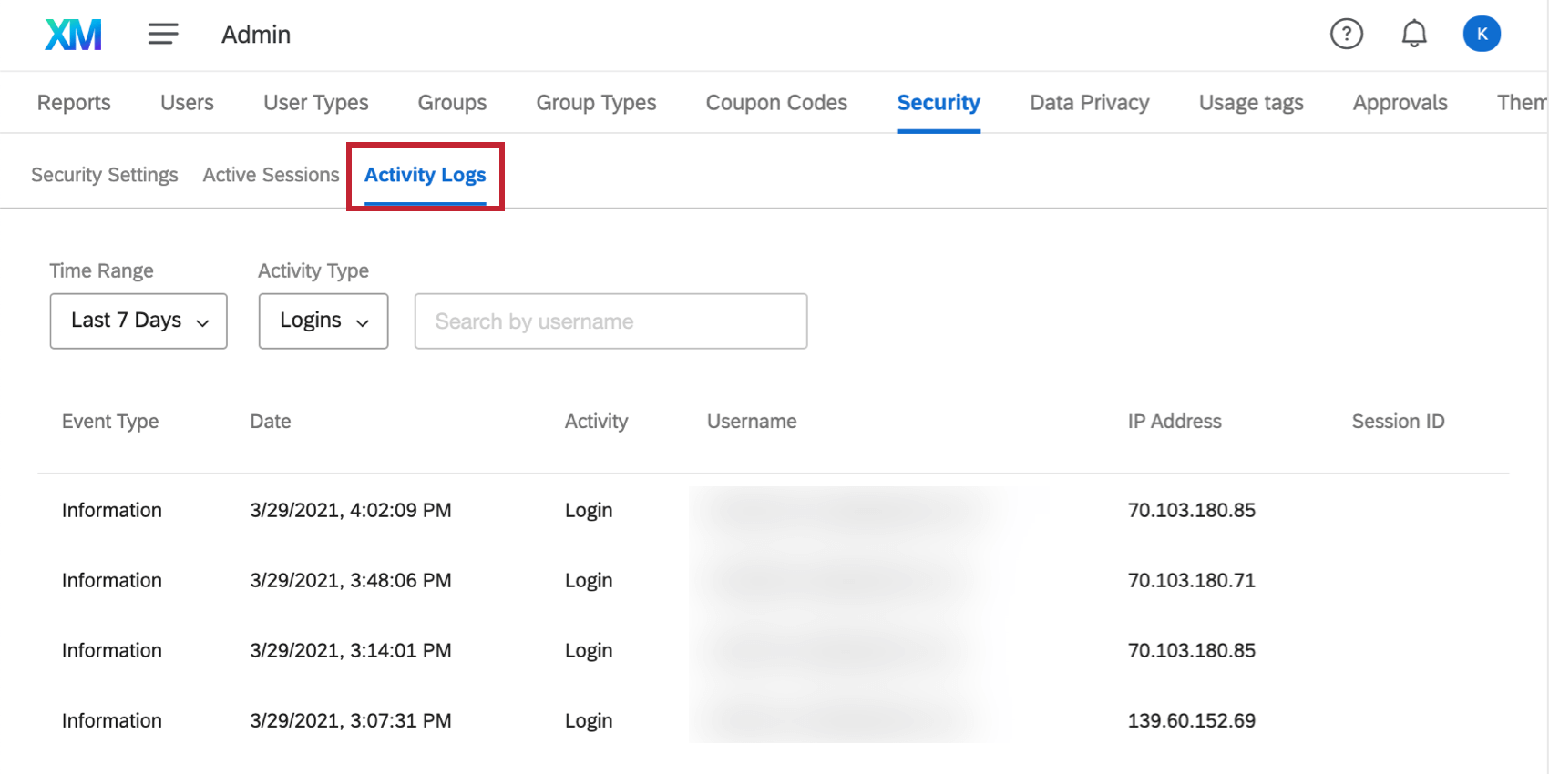 Activity Logs section of the Security tab