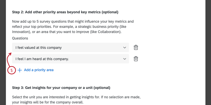 adding optional priority questions