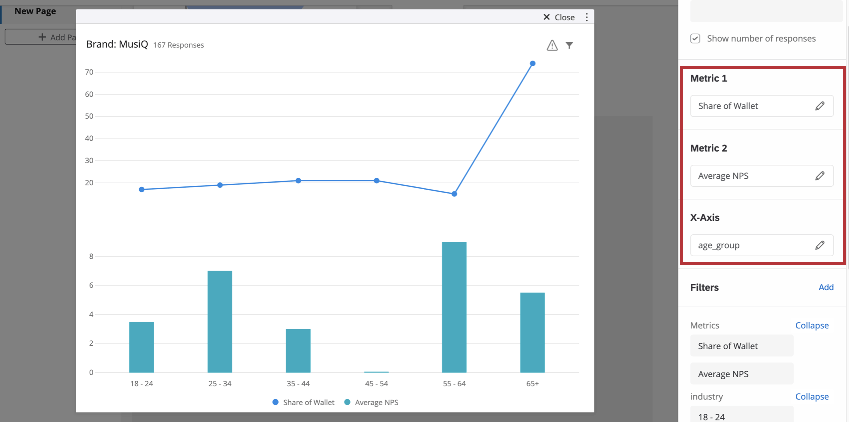 Metric and axis settings in the widget editing pane for the split axis chart