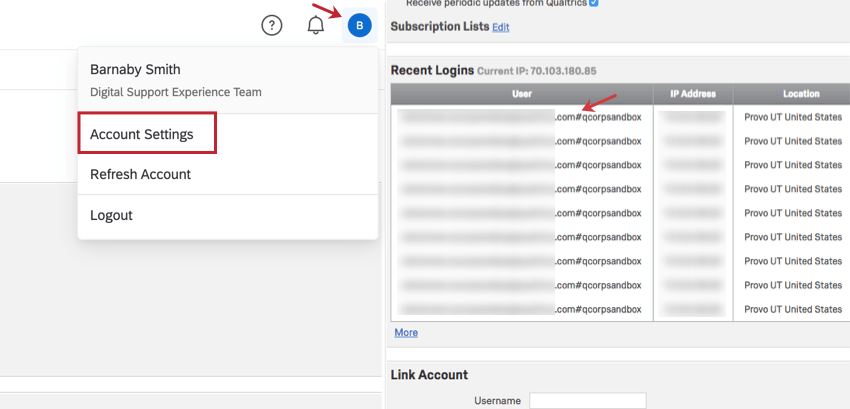 Recent Logins section of Account Settings with a pound sign in the username