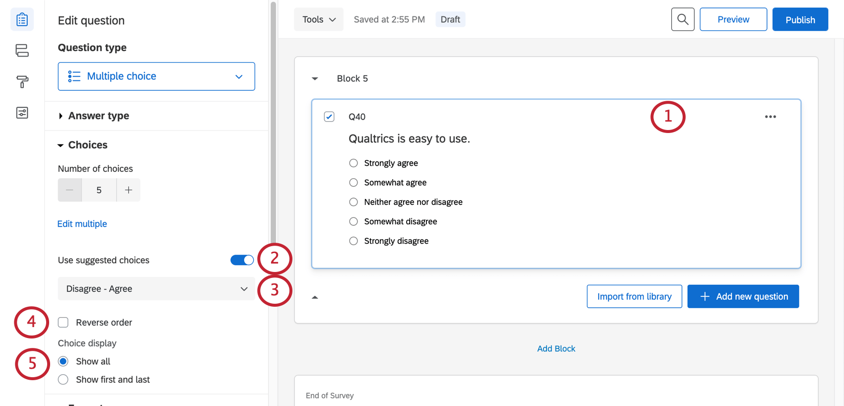 Adding suggested choices to a question