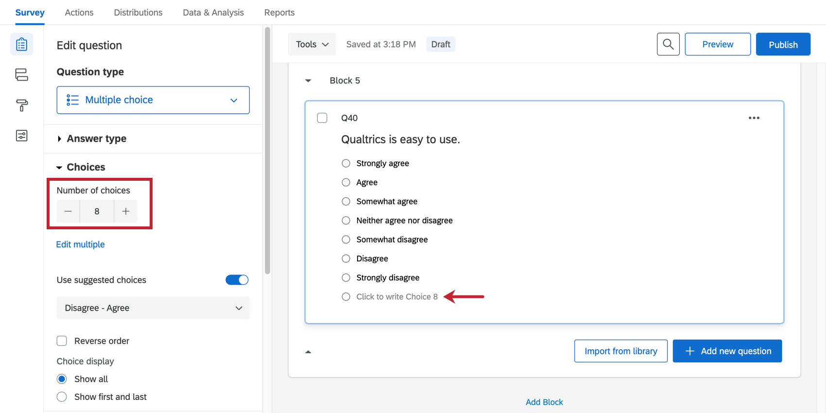the choices option for changing the amount of automatic choices
