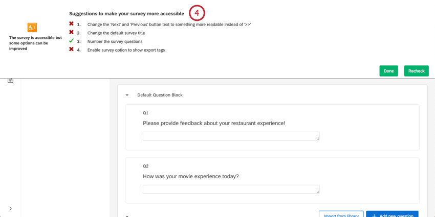 Suggestions to improve survey accessibility