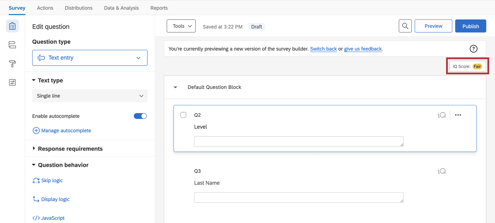 Button to open expert review up in the corner of the survey builder, above where you'd edit questions and blocks