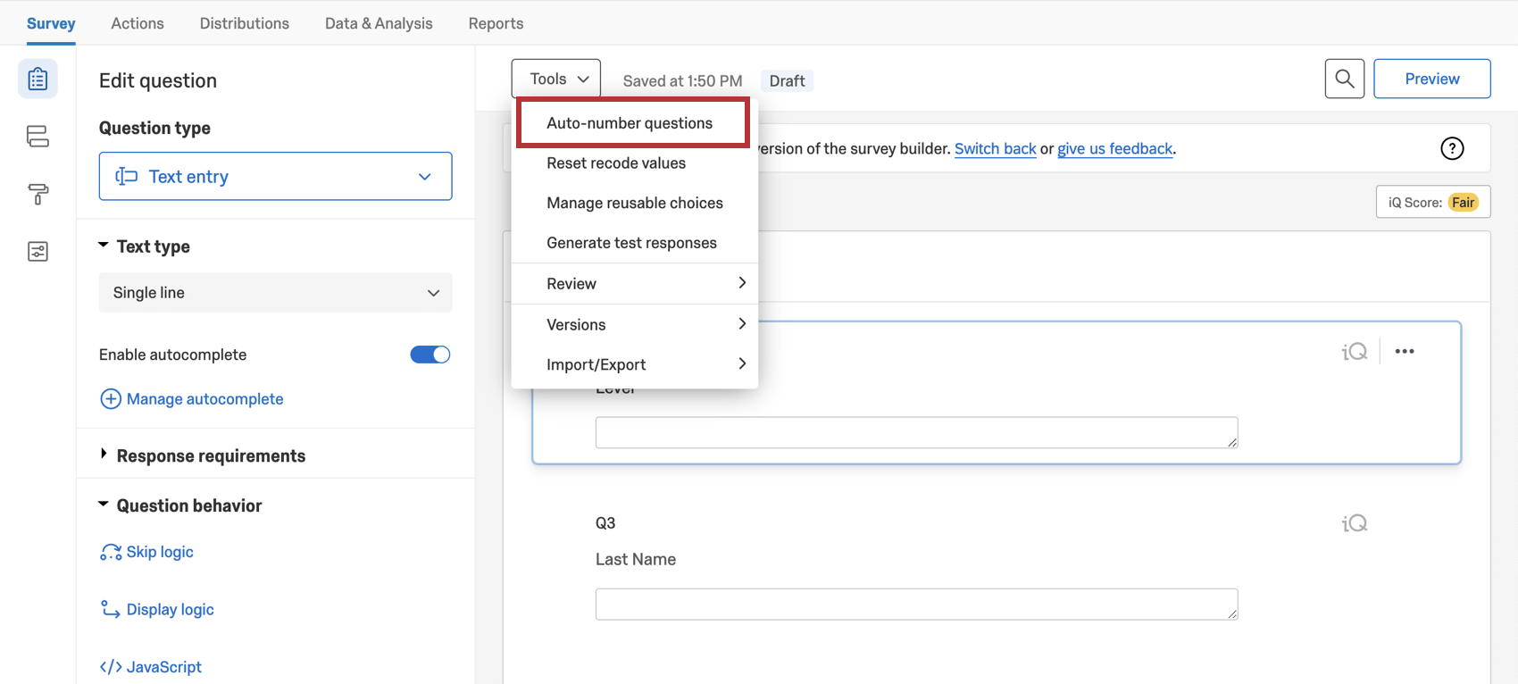 Auto number questions is the first option when you open the tools dropdown along the top of the survey builder