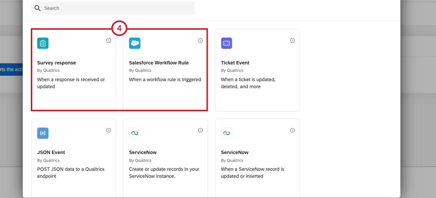 the survey response event and salesforce workflow rule event