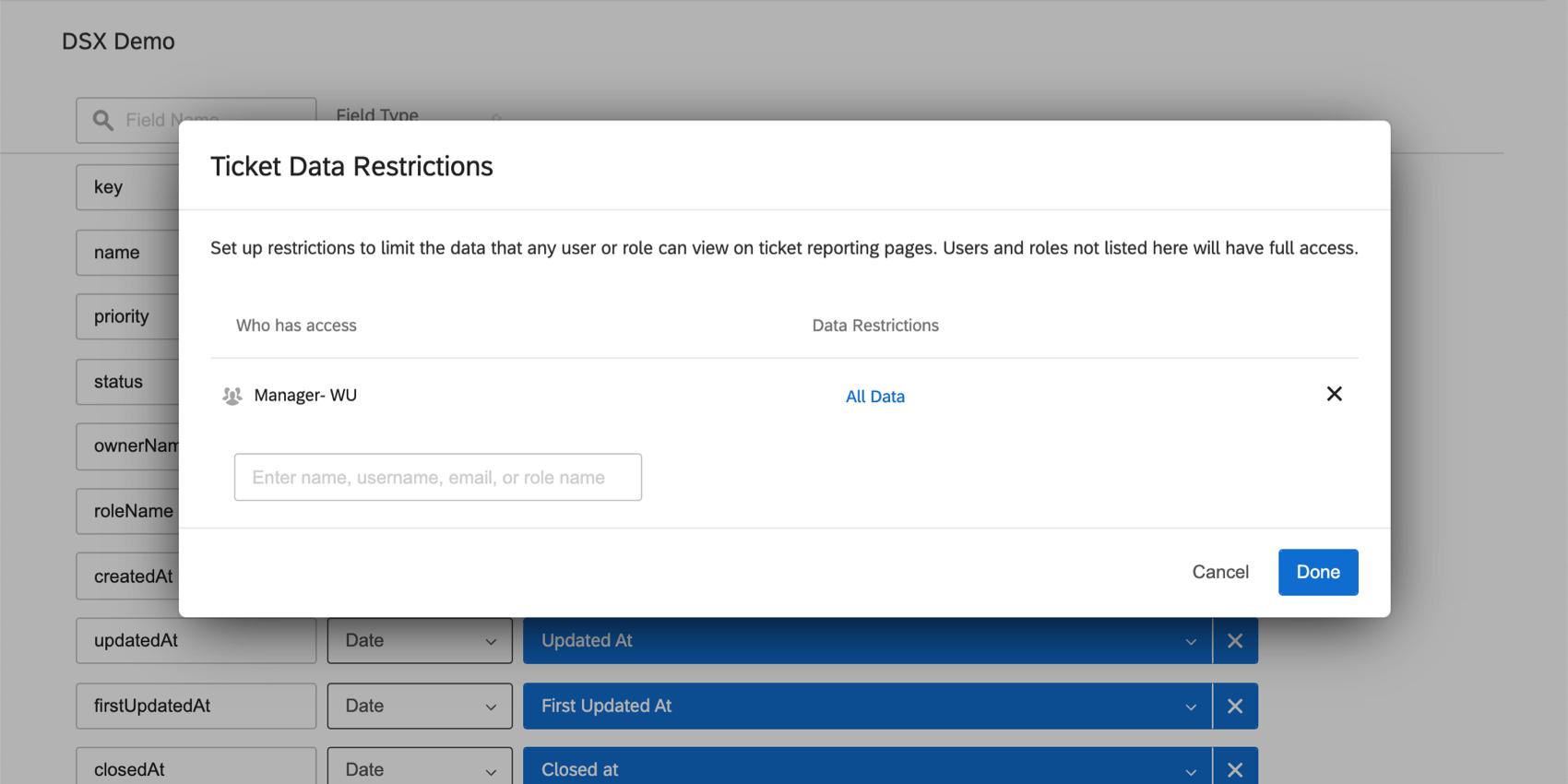 Ticket data restrictions