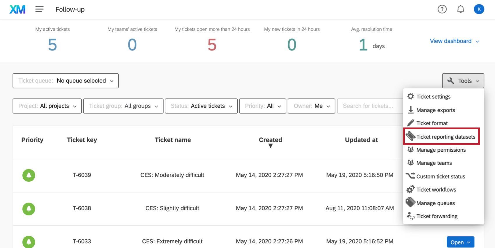 """Option Ticketberichtdatensatz in der Dropdown-Liste """"Werkzeuge"""" hervorgehoben"""