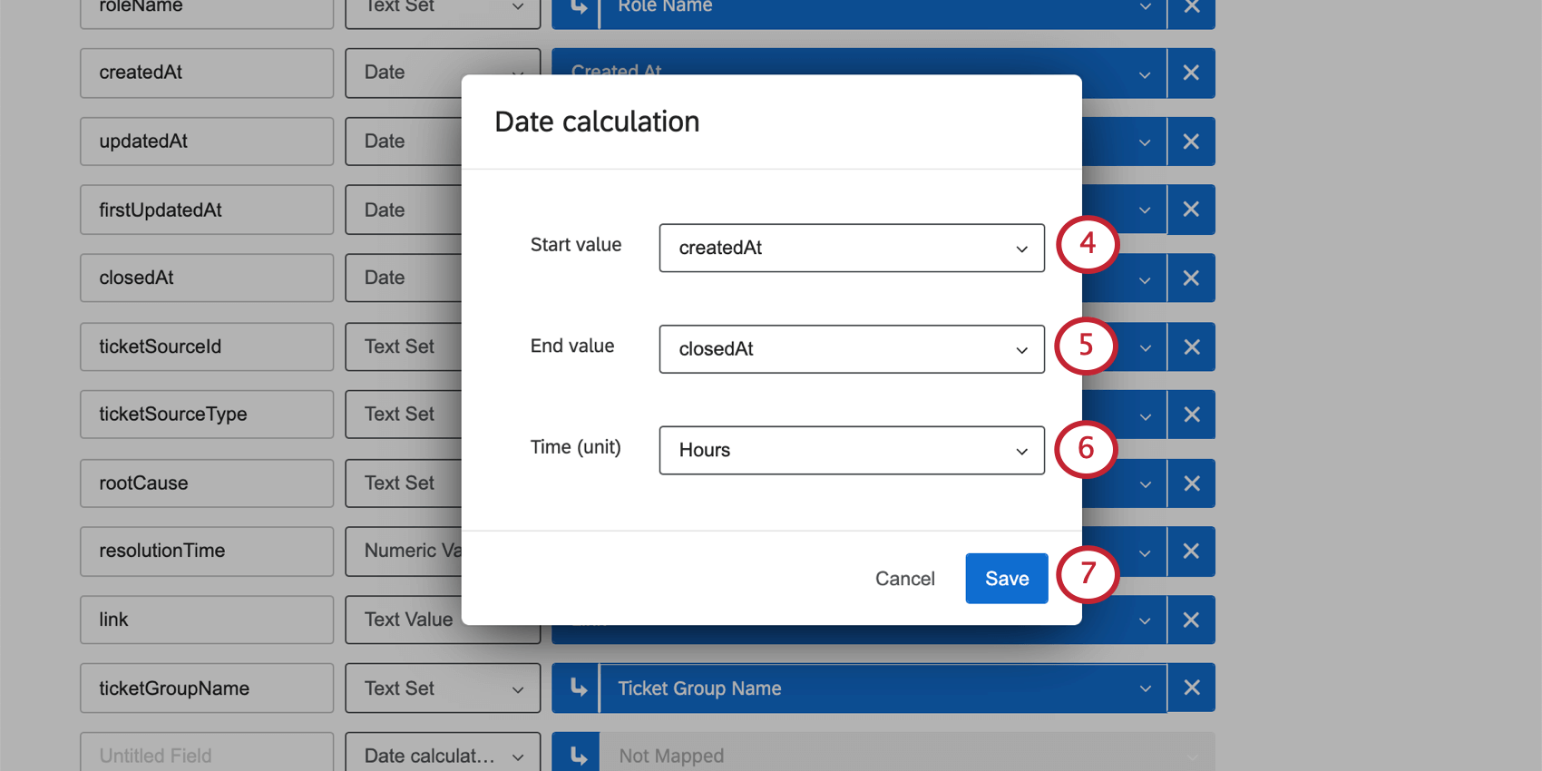 Date calculation window opens over the mapper