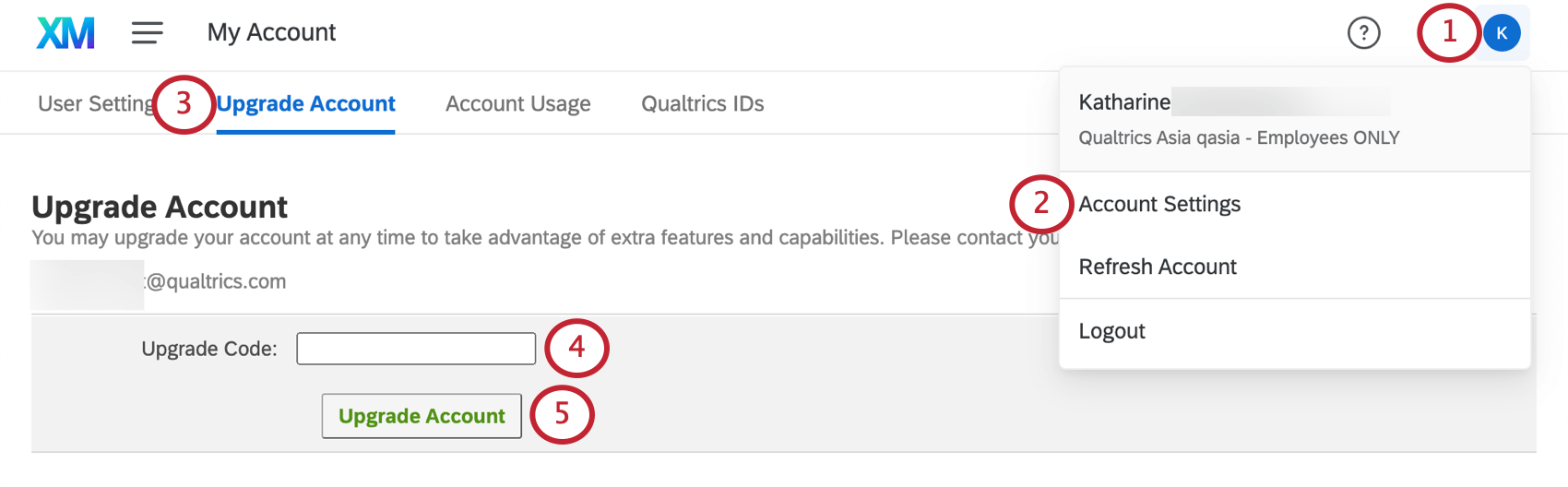 Upgrade Account tab within Account Settings page accessed through upper-right dropdown