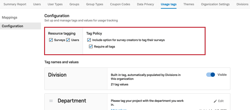 the resource tagging box at the top of the configuration page